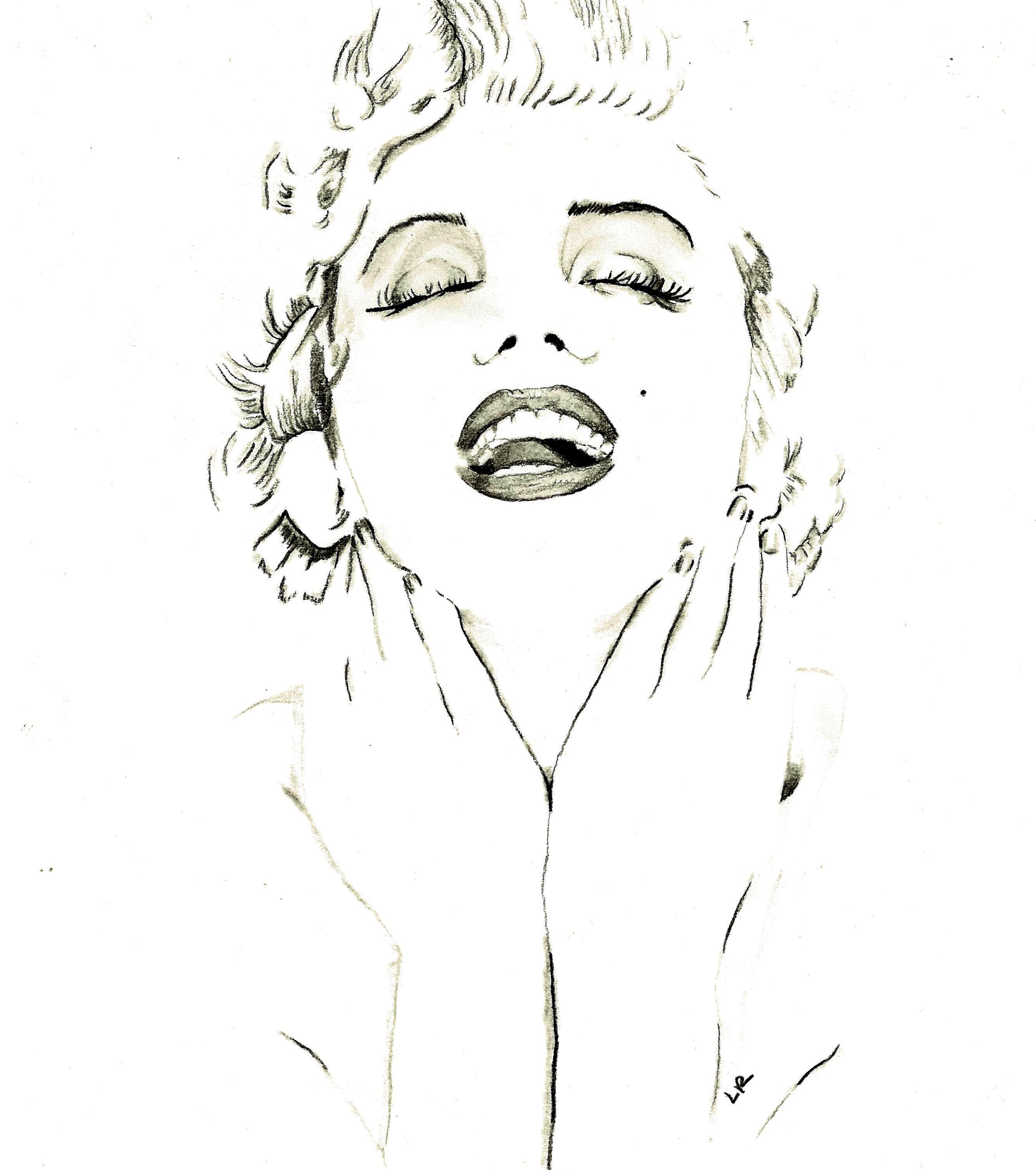 Line Art Information : Marilyn monroe line drawing